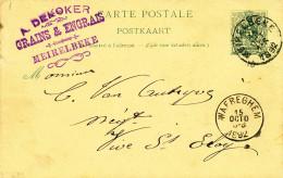 Entier Postal Lion Couché MEIRELBEKE 1892 Vers VIVE ST ELOY Via WAEREGHEM - Cachet Dekoker , Grains Et Engrais  -- XX706 - Entiers Postaux