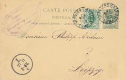 Entier Postal Lion Couché + TP Idem VERVIERS 1890 Vers LEIPZIG - Cachet Henrotay Soeurs , Papeterie  -- XX707 - Entiers Postaux