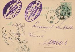 Entier Postal Lion Couché VERVIERS 1885 Vers Anvers - Cachet Louis François , Représentant De Commerce  -- XX708 - Entiers Postaux