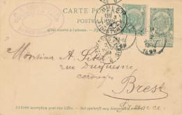 Entier Postal Armoiries + TP Idem HAMME 1899 Vers BREST France - Cachet Van Haver , Cordages Et Tapis  -- XX709 - Entiers Postaux