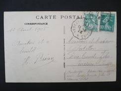 France - 1925 Blanc 111 Semeuse 159 Sur CP Cachet Convoyeurs Annecy à Aix Les Bains - Marcophilie (Lettres)