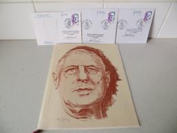 De Gaulle : Livret Edification Mémorial Cachets Timbres 2 Enveloppes 1 Carte 1990 - De Gaulle (Général)