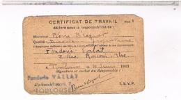 TOULOUSE CARTE  CERTIFICAT DE TRAVAIL DE BREGUET  1945  DOC15 - Historical Documents