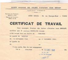 AVIATION TOULOUSE CERTIFICAT DE TRAVAIL SOCIETE LOUIS BREGUET 1960 DOC14 - Historical Documents