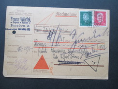 Deutsches Reich 1934 Komplette Nachnahme Karte Franz Würfel Dresden Reichspräsidenten MiF - Briefe U. Dokumente