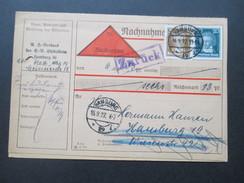 Deutsches Reich 1927 Komplette Nachnahme / Zahlkarte Köpfe Berühmter Deutscher MiF. Vermerk: Zurück - Briefe U. Dokumente