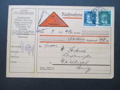 Deutsches Reich 1928 Nachnahme / Zahlkarte Köpfe Berühmter Deutscher MiF. Süddeutsche Müller Zeitung - Briefe U. Dokumente