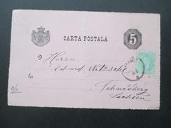 Rumänien 1880 Ganzsache Mit Zusatzfrankatur Michel Nr. 50 Nach Schneeberg In Sachsen - 1858-1880 Fürstentum Moldau