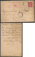 GIBRALTAR. 1892 (14 May). Reply Half 10c Red Stat Card Correct Usage Back Tangier - Gibraltar (15 May). An Extremely ... - Gibilterra