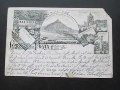 AK 1892 Gruss Aus Porta Westfalica Mehrbildkarte. Kaiser Wilhelm Usw. Posthülfstelle Margarethenhaus Bei Porta Westfalic - Gruss Aus.../ Grüsse Aus...