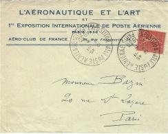"""9-11-1930 - Enveloppe à En-tête """"l´Aéronautique Et L´Art """" Affr. N°199 Oblit. Exposition INTle Poste Aérienne /Paris - Marcofilia (sobres)"""