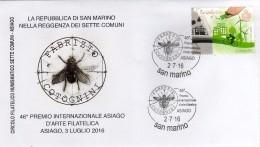 San Marino 2016 Asiago Premio Int. Arte Filatelica Annullo Busta Insetti Ape Bee Opera Di Fabrizio Cotognini - Abeilles