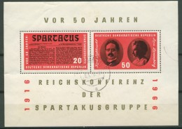 BL6-202 DDR, EAST GERMANY MI M/S,BLOCK 25 50th ANNI SPARTACUS GROUP. USED, OBLTERE, GEBRUIKT. - [6] Oost-Duitsland