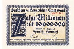 Gutschen Der Bayerischen Staatsbank -  10 Millionen Mark - Munchen  1 August 1923  - UNC - N° 823369 - [ 3] 1918-1933 : Weimar Republic