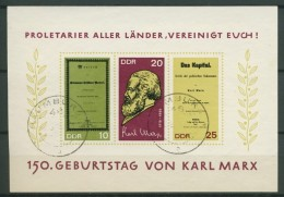 BL6-204 DDR, EAST GERMANY MI M/S,BLOCK 27 150th ANNI BIRTHDAY KARL MARX. USED, OBLTERE, GEBRUIKT. - [6] Oost-Duitsland