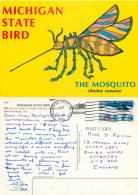 Michigan State Bird, The Mosquito, Michigan, United States US Postcard Posted 1992 Stamp - Stati Uniti