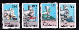 Trein , Train, Eisenbahn: Maldives 1990 Mi Nr 1479 + 1481 + 1482 + 1485 - Trains