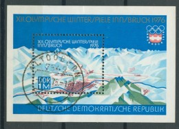 BL6-215 DDR, EAST GERMANY MI M/S,BLOCK 43 SPORT OLYMPICS 1976 INNSBRUCK. USED, OBLTERE, GEBRUIKT. - [6] Oost-Duitsland