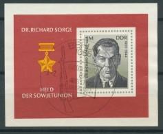 BL6-216 DDR, EAST GERMANY MI M/S,BLOCK 44 RICHARD SORGE JOURNALIST. USED, OBLTERE, GEBRUIKT. - [6] Oost-Duitsland