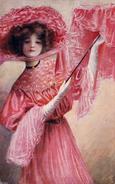 ART NOUVEAU / ART DÉCO : JEUNE FEMME En ROUGE Avec PARASOL / LADY In RED : MAIDEN FAIR - ROSY DAYS - OILETTE (v-225) - Avant 1900