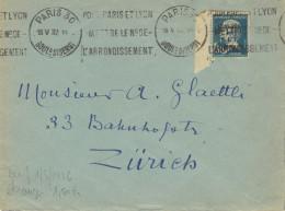 Pasteur N°YT265 Congrès Du BIT, Seul Sur Enveloppe Pour Zürich (Suisse), 18 Mai 1932. - Postmark Collection (Covers)