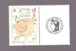 France 2007  Neuf Luxe ** N° 4001A Timbre Personnalisé Vignette Ceres Calendrier Chinois Année Du Cochon Cote 6€ - Francia