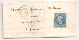 GC 4277 LA VILLETTE Seine Sur LAC Pour ALBERVILLE. 1864. - Marcophilie (Lettres)