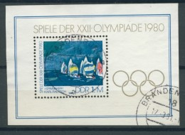 BL6-231 DDR, EAST GERMANY MI M/S,BLOCK 60 SPORT, OLYMPICS MOSKOU 1980. USED, OBLTERE, GEBRUIKT. - Blokken