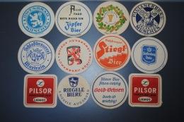 Lot De 12 Anciens Sous-bocks Différentes Marques De Bière - Alcohols