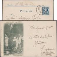 München 1900, Privatpost Courier, Ganzsache. Moderne Galerie N° 129. Anges, Ailes De Papillon, Flûte, Pélican, Peinture - Butterflies
