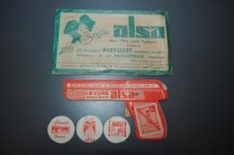 Pistolet En Carton Ancien ALSA Dans Sa Pochette Avec Ses 3 Balles, Mode D'emploi Au Verso De L'enveloppe - Other