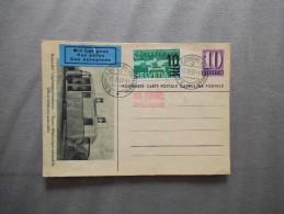 POSTKARTE AUTOMOBIL-POSTBUREAU 17.IV.37 ET TIMBRE CONFERENCE DU DESARMEMENT GENEVE 1932 MIT LUFTPOST BIEL - Interi Postali