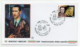 Italia - 1998 - Busta FDC - Bertolt Brecht - 100° Della Nascita - Con Doppio Annullo Filatelico Roma - (FDC1174) - F.D.C.