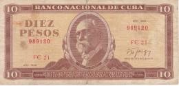 BILLETE DE CUBA DE 10 PESOS DEL AÑO 1988  (BANKNOTE)  MAXIMO GOMEZ - Cuba
