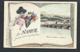 +++ CPA - Carte Fantaisie - De NAMUR Je Vous Envoie Ces Jolies Fleurs - Pont De Jambes Et Citadelle  // - Namur