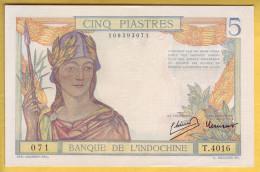 Banque De L´Indochine. Billet De 5 Piastres - - Indochina