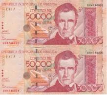PAREJA CORRELATIVA DE VENEZUELA DE 50000 BOLIVARES DEL AÑO 2006 SERIE B CALIDAD EBC (XF) (BANKNOTE) - Venezuela