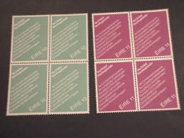 IRLANDA - 1979 COMUNITA' EUROPA 2 VALORI, In Quartine(blocks Of Four) - NUOVI(++) - 1949-... Repubblica D'Irlanda