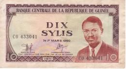 BILLETE DE LA REP. DE GUINEA DE 10 SYLIS DEL AÑO 1971  (BANKNOTE) - Guinea