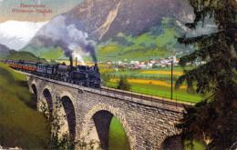 TAUERNBAHN - Weitmoser-Viadukt, 2 Dampfloks, Verlag Burger & Co, Gel.1923, 300 Kronen Frankierung, Ecken Bestossen - Altri