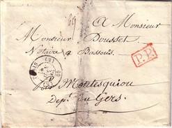 PARIS - (E) 60 (E) - CACHET DU 14 JUIN 1844 - LETTRE EN PP (ROUGE) - VERSO TAXE MANUSCRITE 16 - PLIAGE FORME ENVELOPPE - Marcophilie (Lettres)
