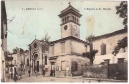 CPA GARD.COMPS.L'EGLISE ET LA MAIRIE - France