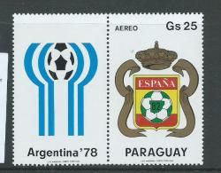 Paraguay 1979 Soccer World Cup Spain 25G Coat Of Arms Ex Miniature Sheet With Label MNH - Paraguay