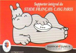 """Carte Postale édition """"Carte à Pub"""" - Hippopotamus Restaurant Grill - Supporter Du Stade Français CASG Paris (Rugby) - Publicité"""