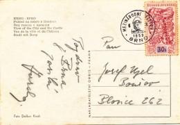 L0398 - Czechoslovakia (1959) Brno (b): International Fair (logo); Postcard: City Brno; Stamp: 30h Bruxelles 1958