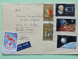 Romania 1985 Cover To France - Flag Space Atom Nuclear - Lettres & Documents