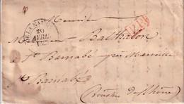 PARIS - B.DE LA MAISON DU ROI - 18 AVRIL 1842 - PP ROUGE - TAXE MANUSCRITE 11 AU VERSO - AVEC TEXTE. - Marcophilie (Lettres)