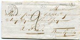 SEINE ET OISE De MANDRES LAC Du 08/05/1849 Boîte Rurale A+ Cachet T15 De BRUNOY - Marcophilie (Lettres)