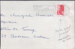 Lettre Avec Timbre N° 2427  2,20 Liberté Rouge (carnet) Variété: Accident De Découpe Grand Format - Variétés Et Curiosités