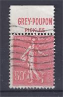 France - Carnets - Pub - Semeuse Lignée 50 C Rouge - Yvert N° 199 - GREY POUPON - Pickles - Oblitéré - Advertising